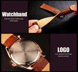 Yazole Mens Business Waterproof Leather Quartz Wristwatch