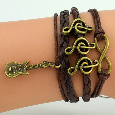 Woven Leather Guitar/Musical Infinity Bracelet
