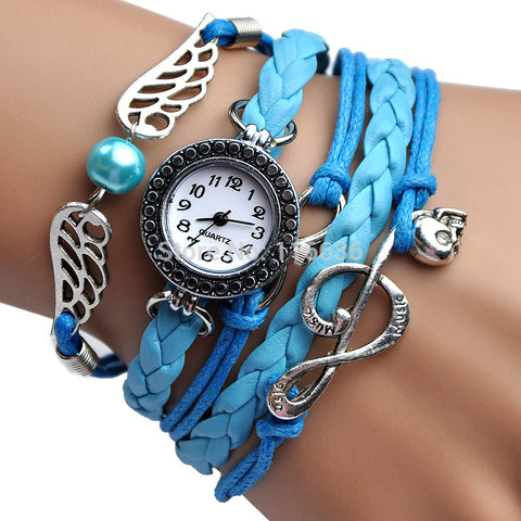 Fashion Angel Wing Music Clef Skull Leather Parcord Braided Bracelet Watch