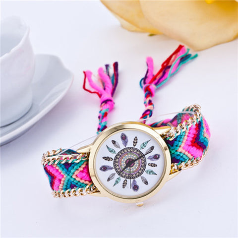 Zuosite - Handmade Braided Multicolor Tribal Style Fabric Stainless Steel Watch