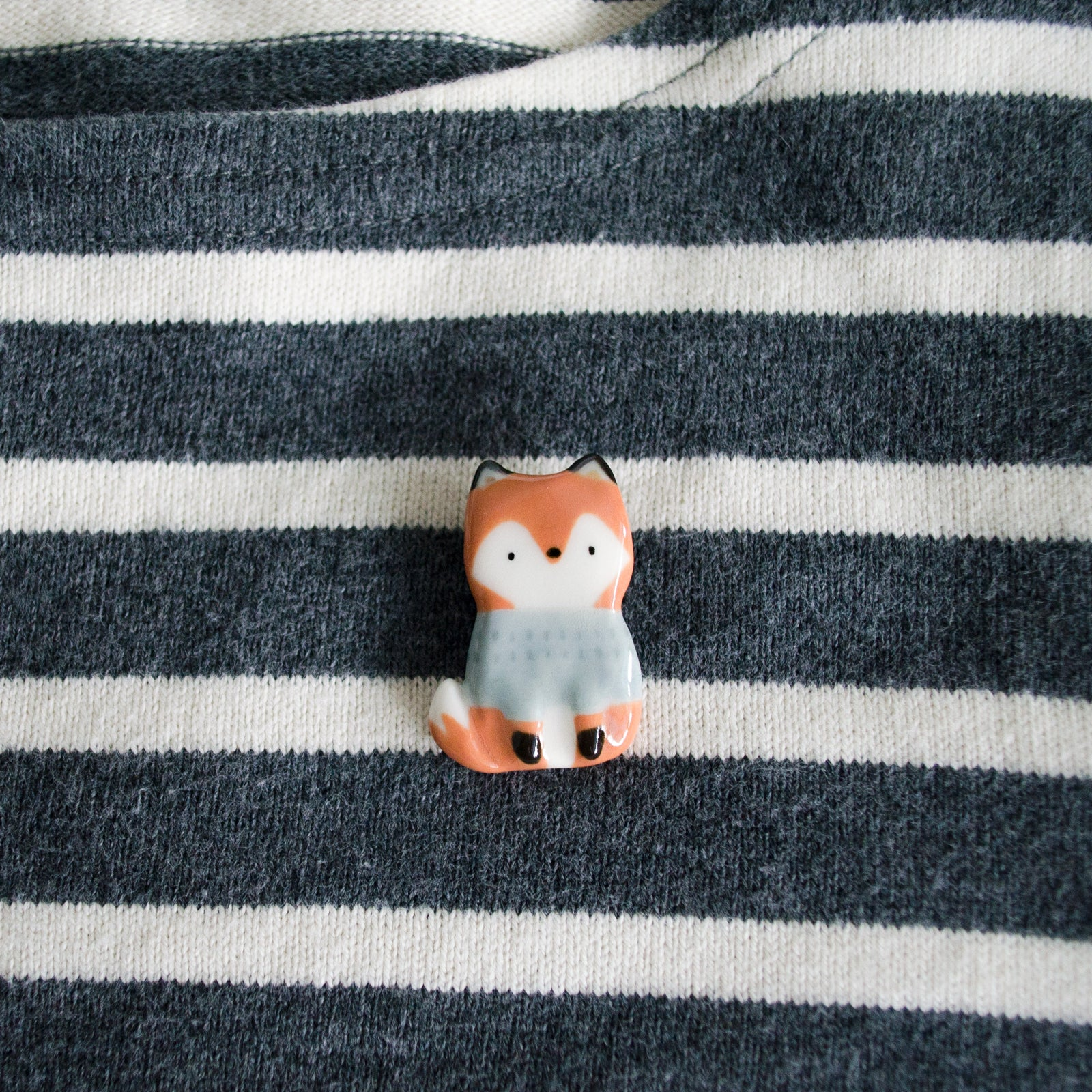 Powder Blue Sweater Fox Brooch