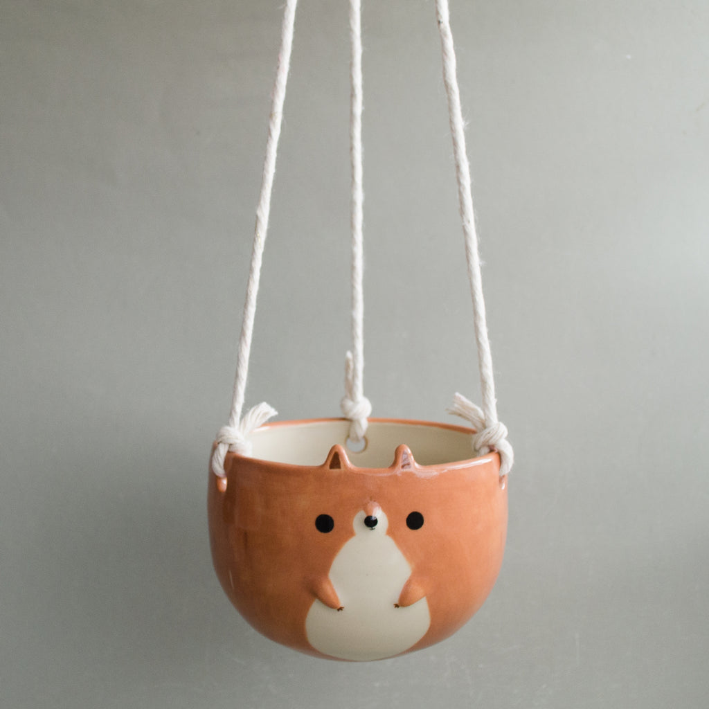 Hazelnut Squirrel Hanging Planter