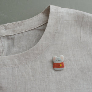 Mouse in Blouse Brooch