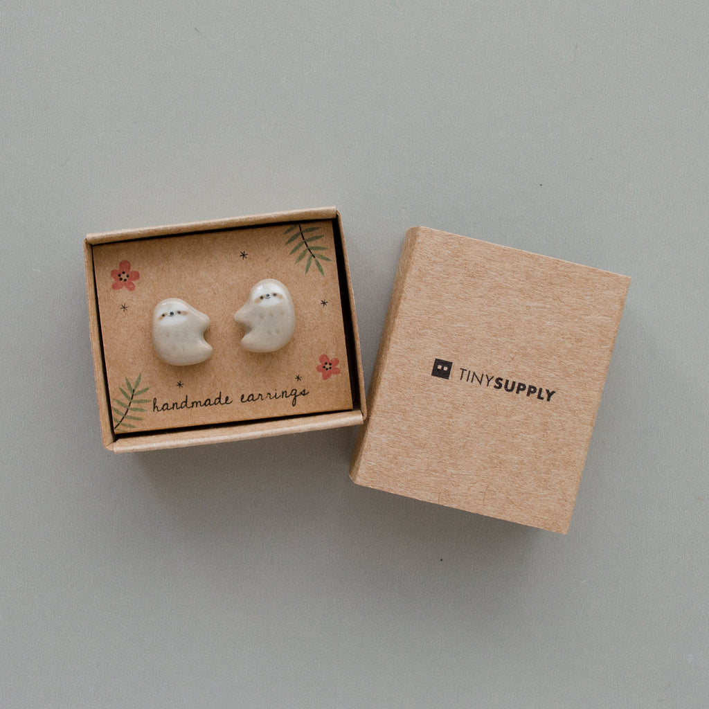 Simple Sloth Stud Earrings