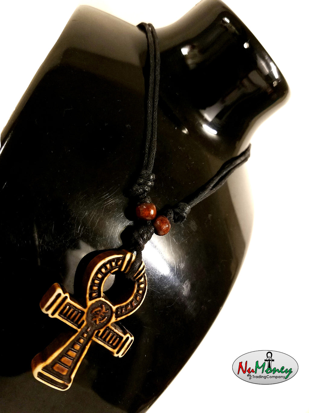 Adjustable Rope Yak Bone Ankh Necklace