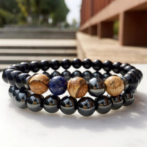 2PC Hematite x Black Agate Mix Bracelet Combo