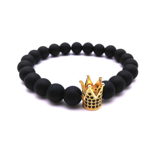 Black Onyx Stone Zircon Crown Bracelet