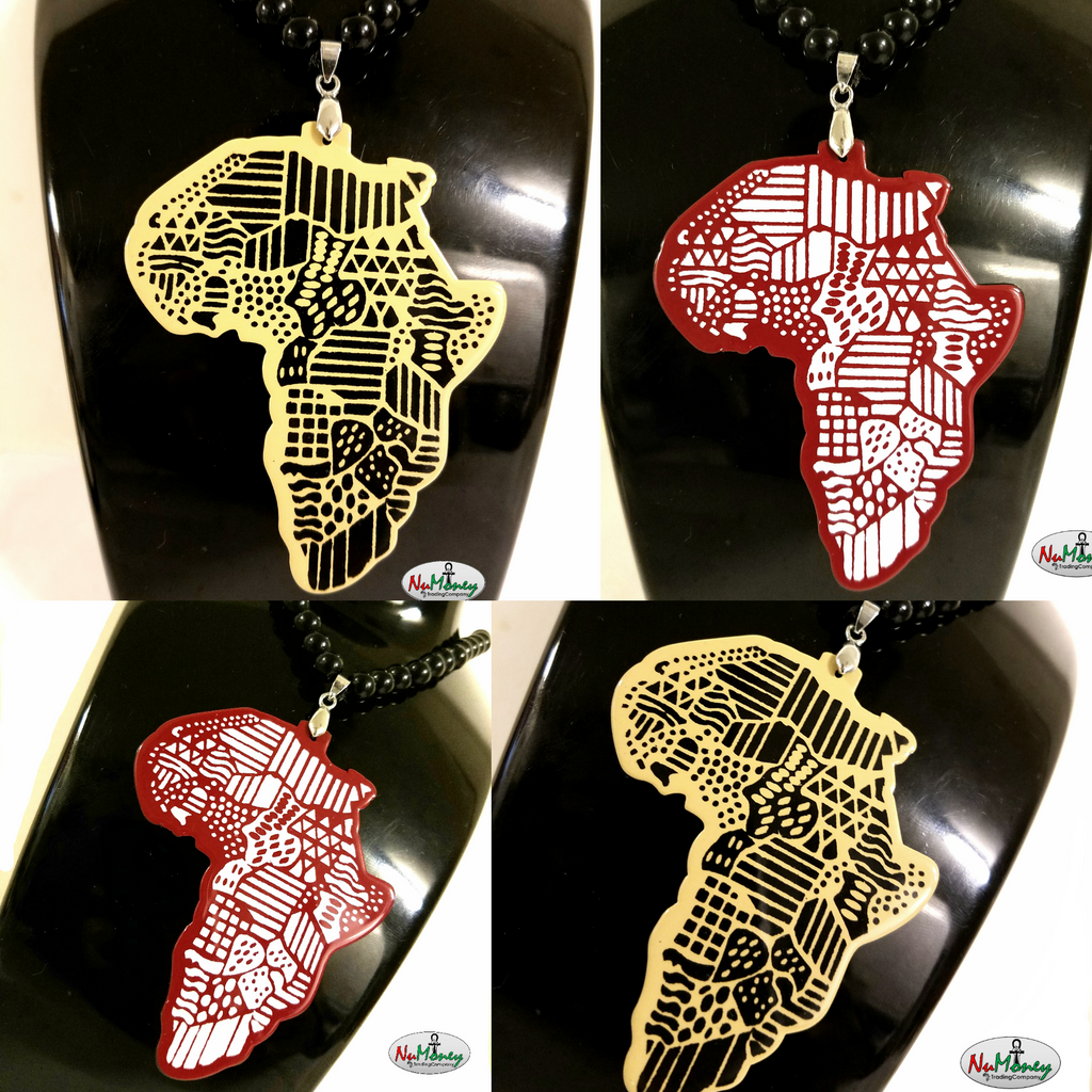 Beaded Acrylic Africa Map Necklace