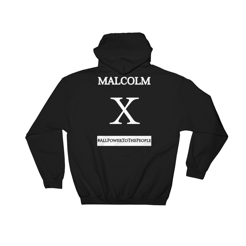 Malcolm X Hoodie - (Back Only, White Print)