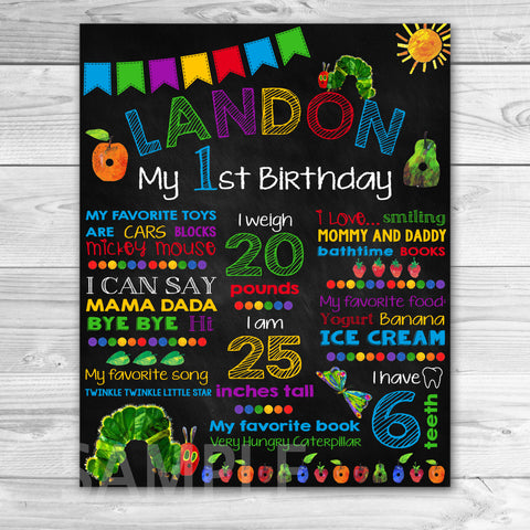 Very Hungry Caterpillar Birthday Chalkboard. Very Hungry Caterpillar First Birthday. Very Hungry Caterpillar Chalkboard Sign Printable