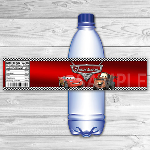 Cars Bottle Labels. Cars Water Label. Cars Printable. Cars Birthday Party.