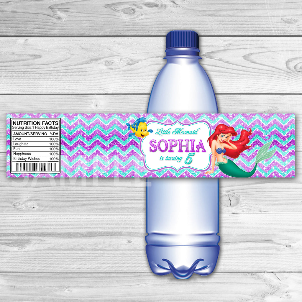 Ariel Bottle Labels. Little Mermaid Water Label. Little Mermaid Ariel Birthday Party. Disney Princesses Party.