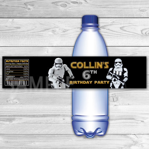 Star Wars Bottle Labels. Star Wars Water Label. Star Wars Printable. Star Wars Birthday Party. Storm Trooper  Bottle Label.