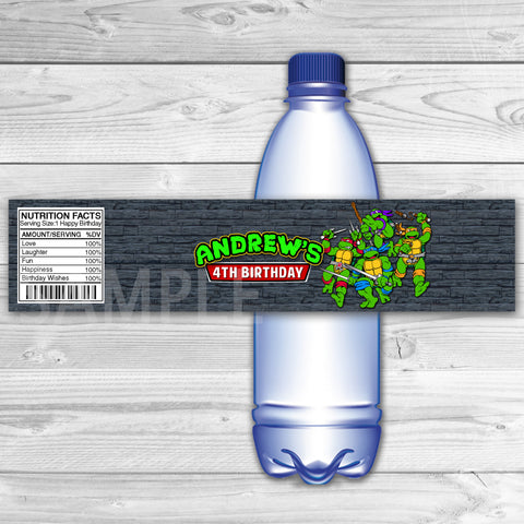 TMNT Ninja Turtles Bottle Labels. Teenage Mutant Ninja Turtles  Water Label. TMNT Printable. Ninja Turtles Birthday Party. Ninja Turtles Bottle Label.