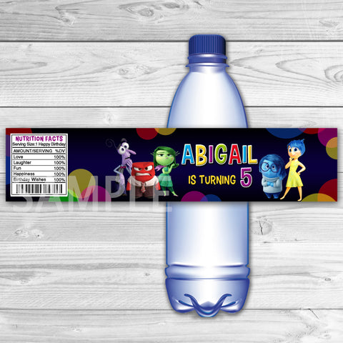 Inside Out Bottle Labels. Inside Out Water Label. Inside Out Printable. Inside Out Birthday Party.