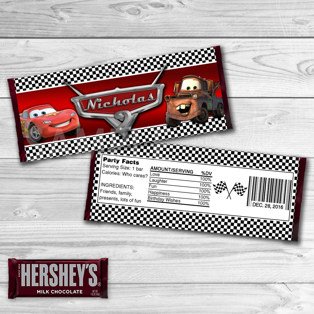 Cars Candy Bar Wrappers. Cars Chocolate Label. Cars Printable. Cars Birthday Party. Cars Birthday Favors.