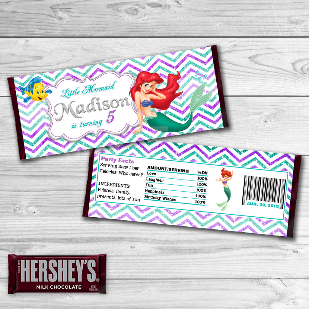 Little Mermaid Candy Bar Wrappers. Mermaid Ariel Chocolate Label. Little Mermaid Ariel Birthday Party Favors. Ariel Printables.