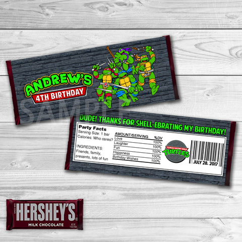TMNT Ninja Turtles Candy Bar Wrappers. Teenage Mutant Ninja Turtles Chocolate Label. TMNT Printable. Ninja Turtles Birthday Party. Ninja Turtles Birthday Favors.
