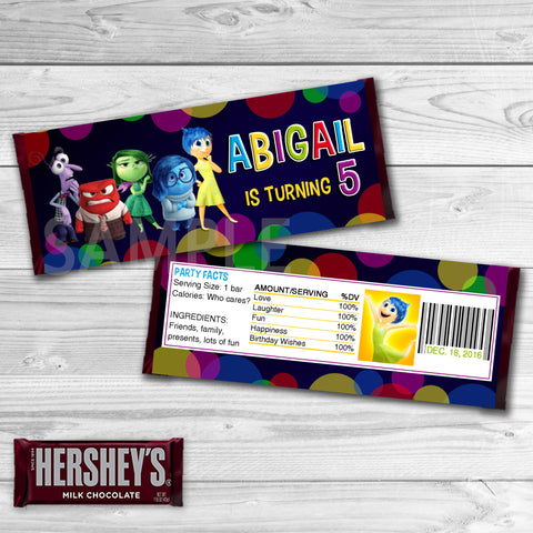Inside Out Candy Bar Wrappers. Inside Out Chocolate Label. Inside Out Printable. Inside Out Birthday Party. Inside Out Birthday Favors.