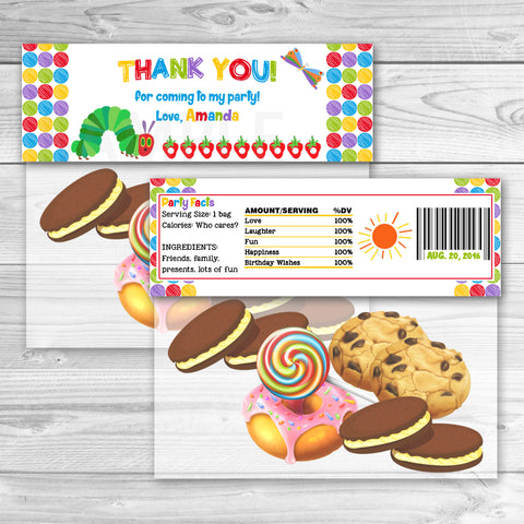 Very Hungry Caterpillar Favor Bag Toppers. Hungry Caterpillar Thank You Stickers. Very Hungry Caterpillar Party Favors.