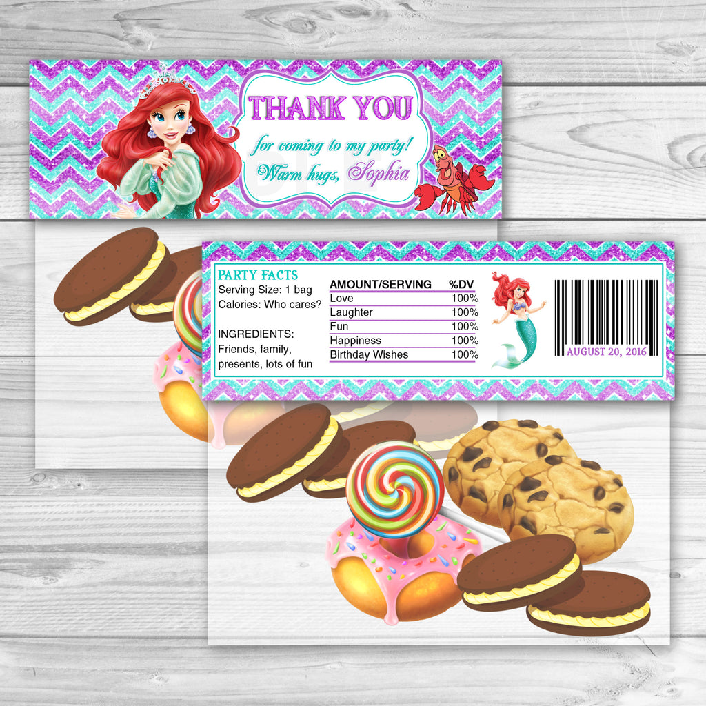 Little Mermaid Favor Bag Toppers. Mermaid Ariel Thank You Stickers. Little Mermaid Ariel Birthday Party Favors. Ariel Printables.