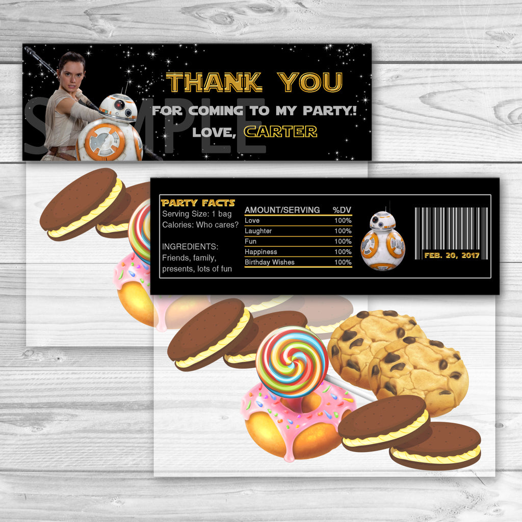 Star Wars Favor Bag Toppers Thank You Stickers BB8 Birthday