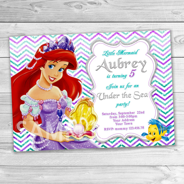 Little Mermaid Invitation, Little Mermaid Ariel Birthday Party.