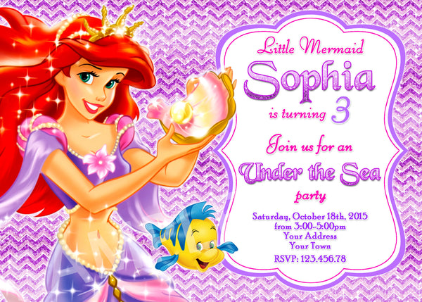 Ariel Invitation. Little Mermaid Birthday Invitation, Little Mermaid Ariel Birthday Party. Disney Princesses Party Invitation.