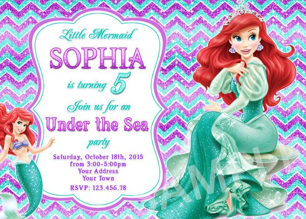 Little Mermaid Birthday Invitation. Ariel Invitation. Little Mermaid Ariel Birthday Party. Disney Princesses Party Invitation.