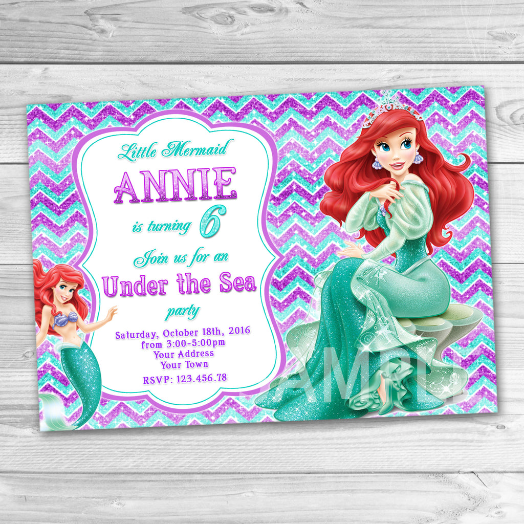 Little mermaid birthday invitation ariel invitation little mermaid little mermaid birthday invitation ariel invitation little mermaid ariel birthday party disney princesses filmwisefo
