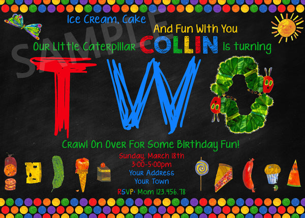 Very Hungry Caterpillar Invitation. Very Hungry Caterpillar Birthday Party. Hungry Caterpillar Printables.