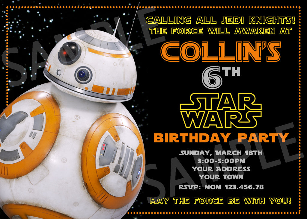 image relating to Bb 8 Printable called Star Wars Invitation. Star Wars Printable. Star Wars Birthday Bash Printable Invitations. BB-8 Invitation. BB8 Bash Invitation.