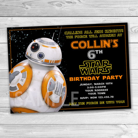 Star Wars Invitation. Star Wars Printable. Star Wars Birthday Party Printable Invites. BB-8 Invitation. BB8 Party Invitation.