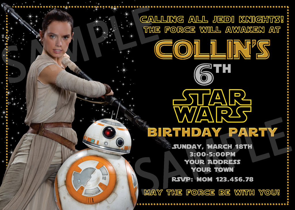 BB8 Party Invitation. Star Wars Invitation. Star Wars Printable ...