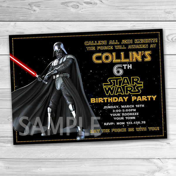 Darth Vader Party Invitation. Star Wars Invitation. Star Wars Printable. Star Wars Birthday Party Printable Invites.