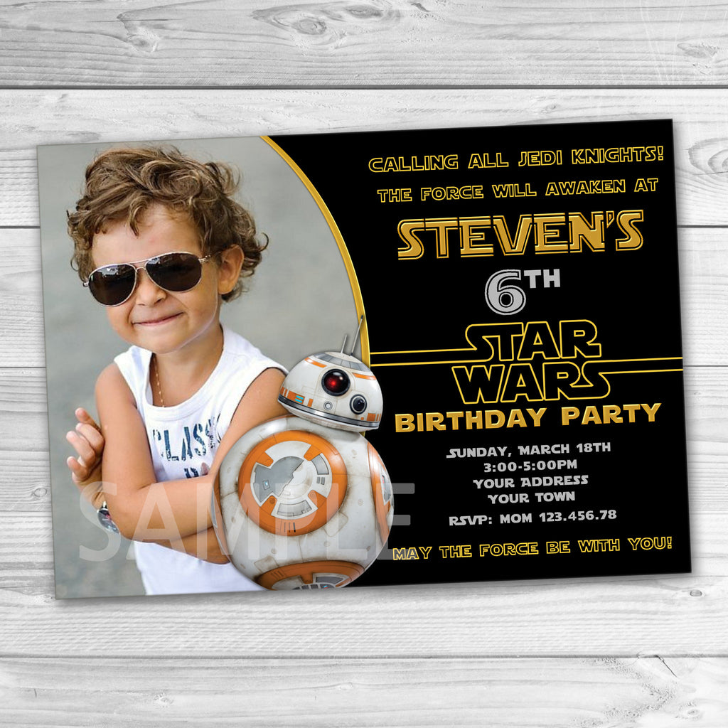 BB8 Invitation BB8 Party Invitation Star Wars Invitation Star