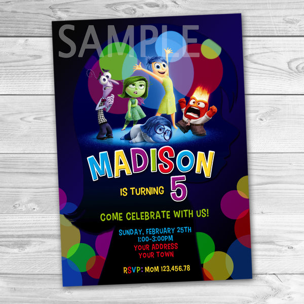 Inside Out Party Invitation. Inside Out Invitation. Inside Out Printable. Inside Out Birthday Party Printable.