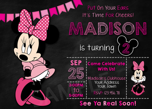 Minnie Mouse Party Invitation. Minnie Mouse Invitation. Mickey Mouse Clubhouse Invitation. Minnie Mouse Mouse Printable. Minnie Mouse Mouse Birthday Party Printable Invites.