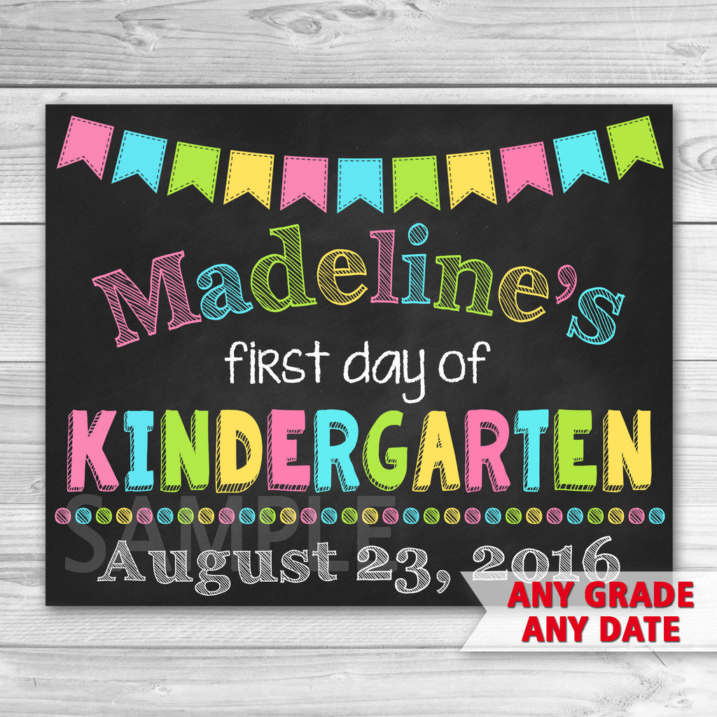 First Day of Kindergarten Sign. Graduation Chalkboard Sign Printable. First day of school sign.