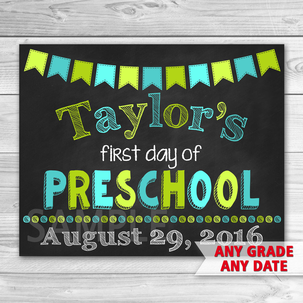 First Day of Preschool Sign. Graduation Sign Printable. First Day Of School.