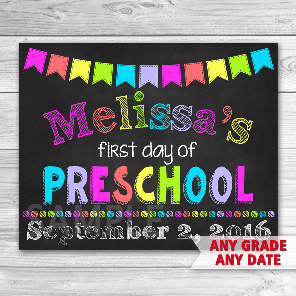 First Day of Preshool Sign. Graduation Chalkboard Sign Printable. First Day Of School.