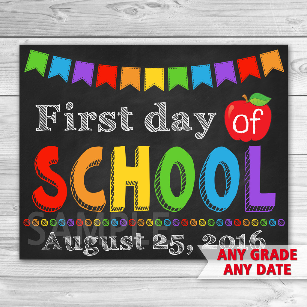 First Day of School Sign. Graduation Chalkboard Sign Printable.