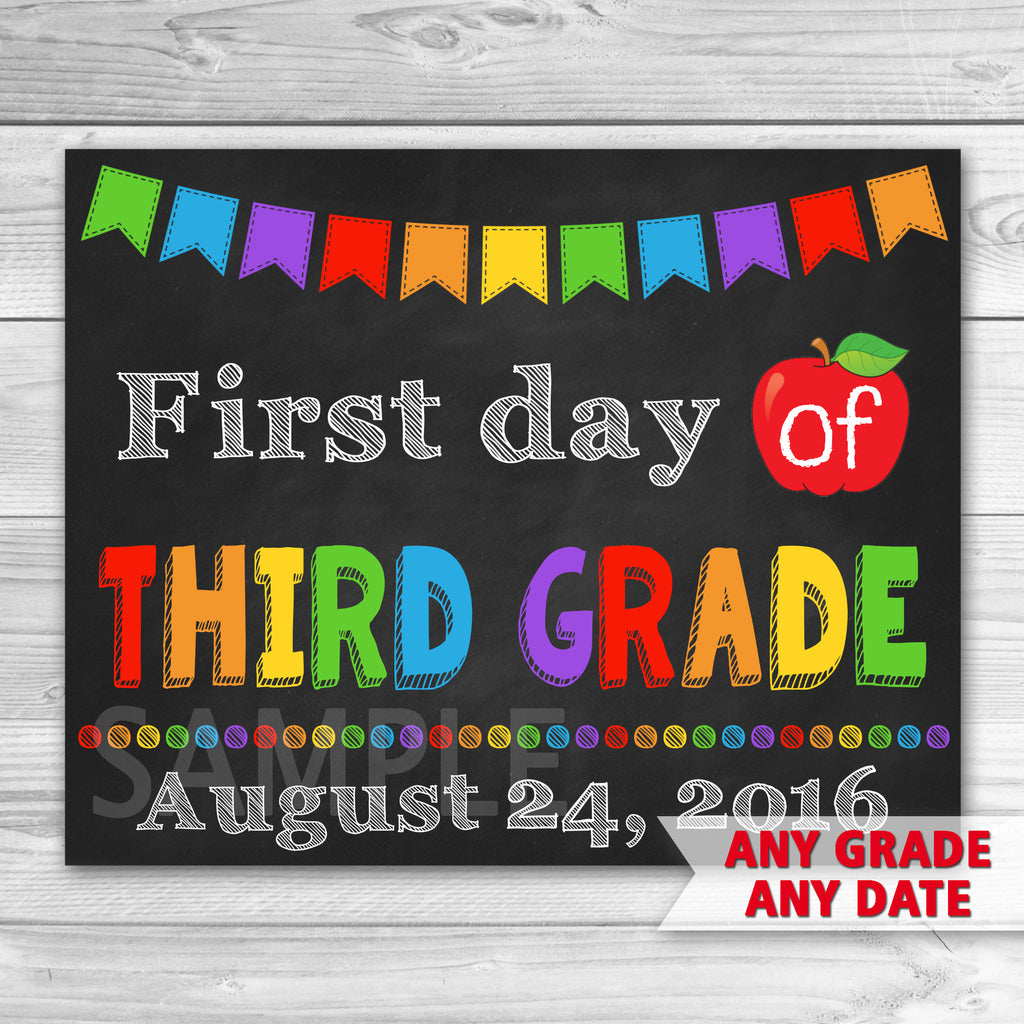 First Day of Third Grade Sign. First Day Of School.
