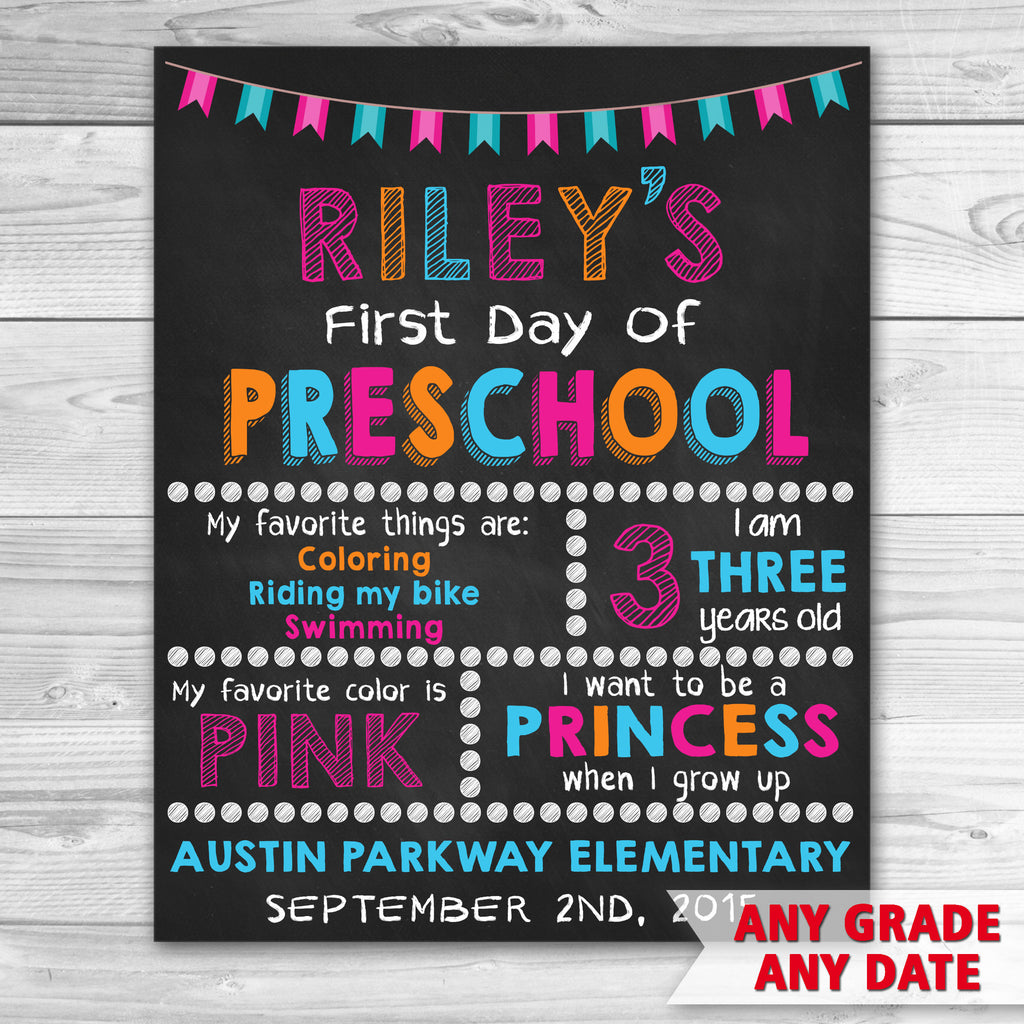 First Day Of School. First Day of Preschool Sign. Graduation Chalkboard Sign Printable.