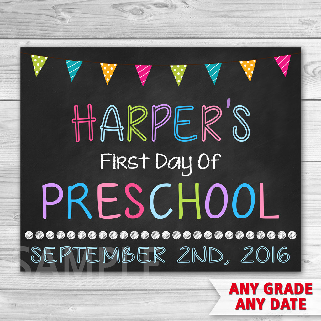 First Day of Preschool Sign. First Day of Kindergarten Sign. First Day Of School.