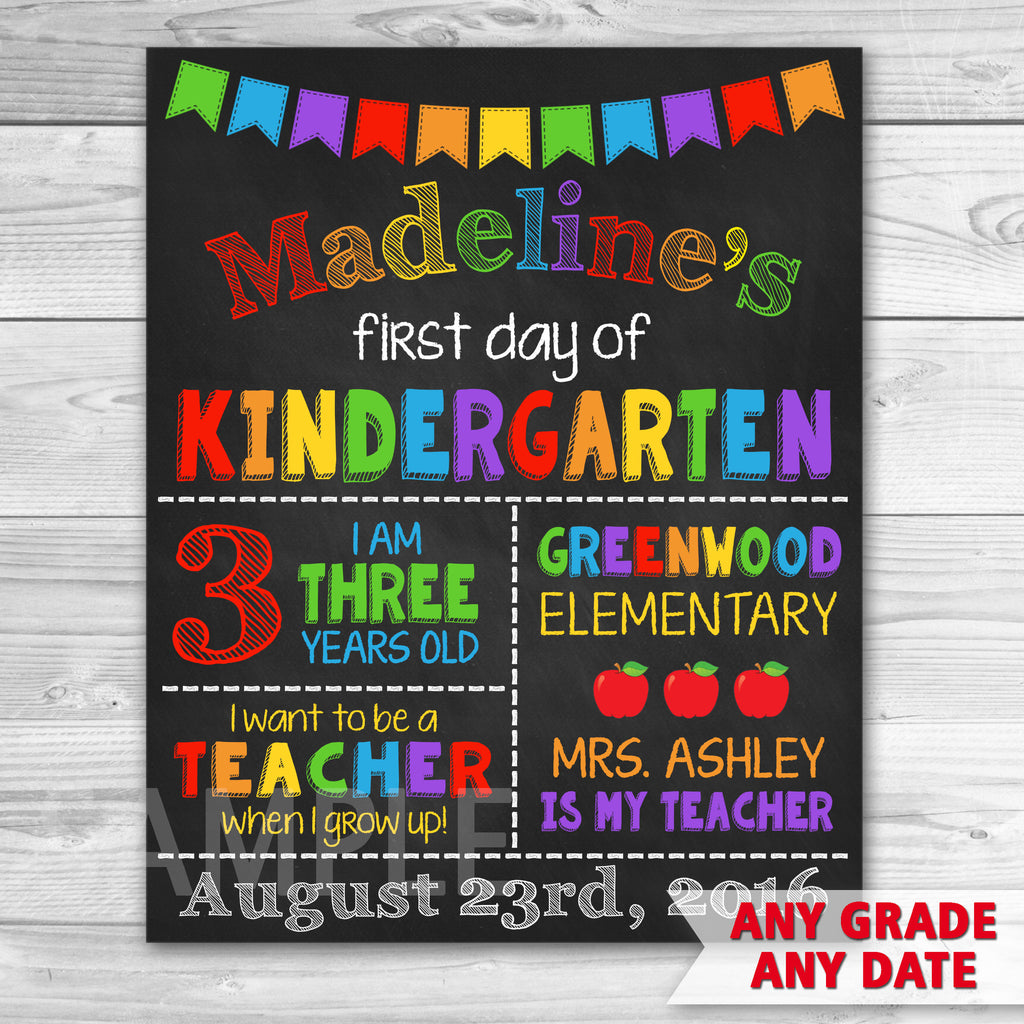 graphic regarding First Day of Preschool Sign Printable called Very first Working day Of Higher education. Initially Working day of Kindergarten Signal. Commencement Chalkboard Signal Printable.