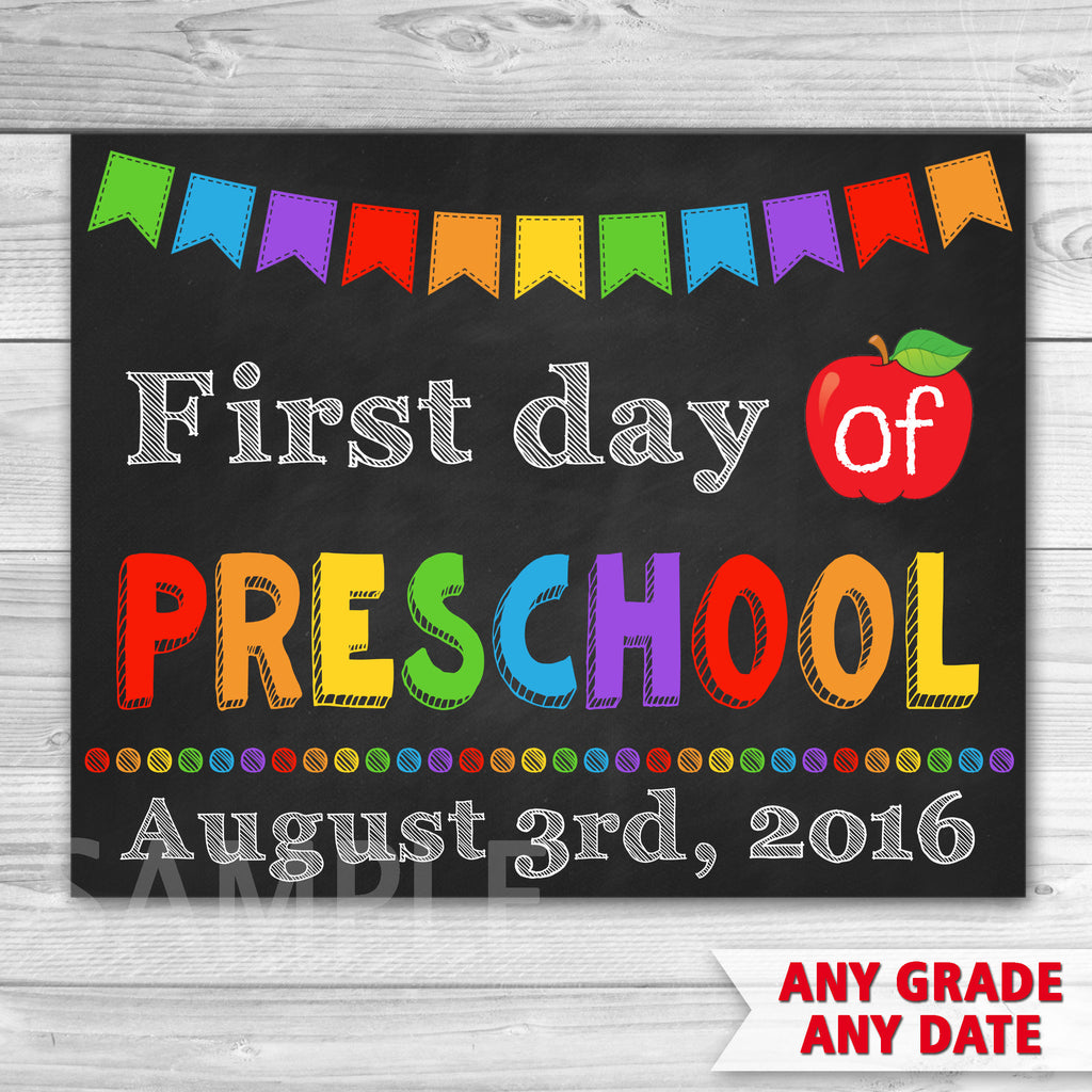 graphic relating to First Day of Preschool Sign Printable identify Initial Working day of Preschool Indication. To start with Working day of Kindergarten Indication. Very first Working day Of College.