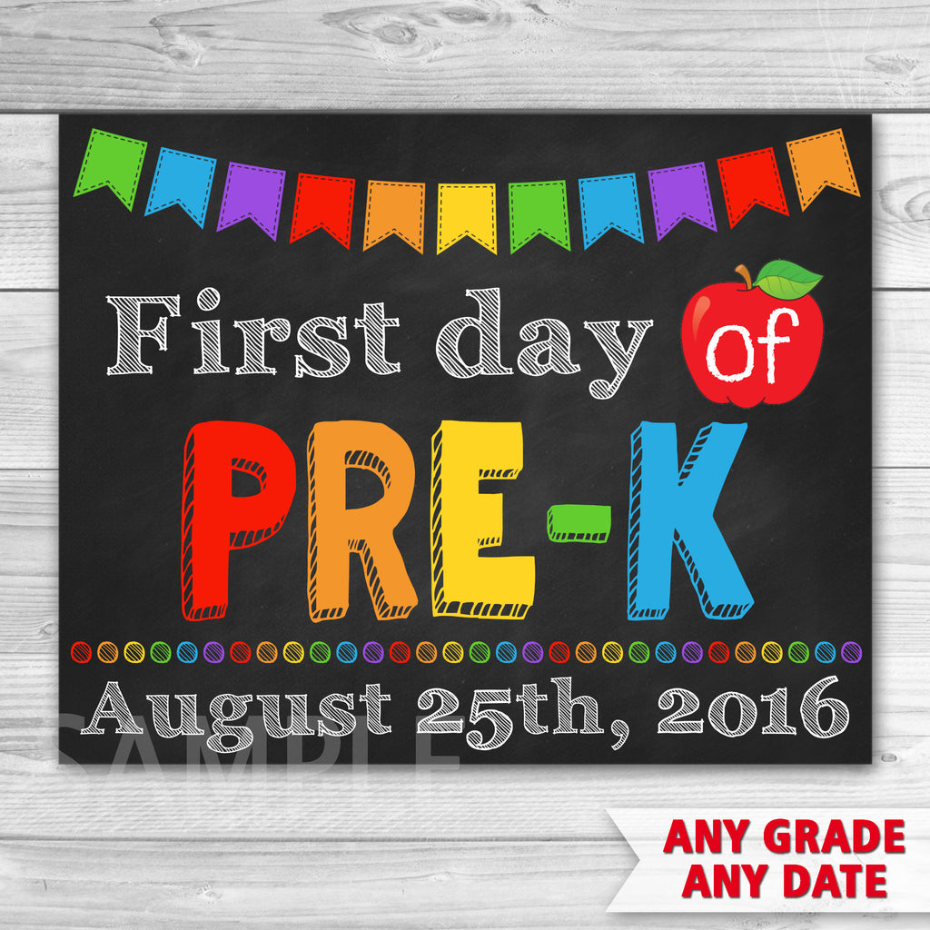 First Day of Pre-K Sign. First Day of Kindergarten Sign. First Day Of School.