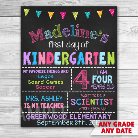 First Day of Kindergarten Sign. First Day Of School. Any Grade!
