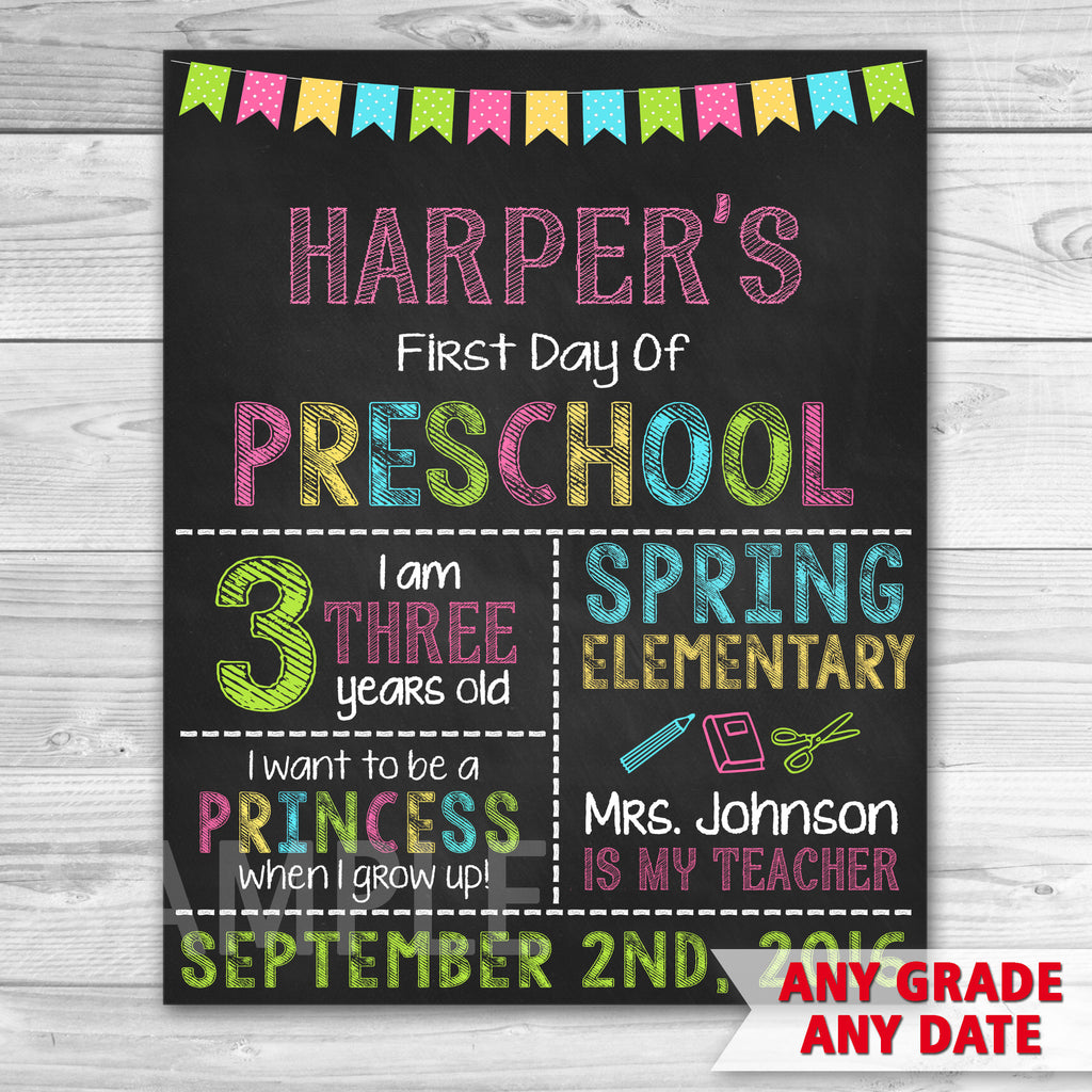 First Day of Preschool Sign. Graduation Chalkboard Sign Printable. First Day Of School.